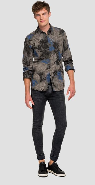 Foliage linen and cotton shirt - Replay M4025_000_71982_010_1
