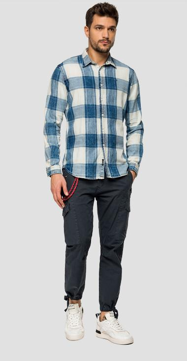 Checked cotton twill shirt - Replay M4026_000_52238_010_1