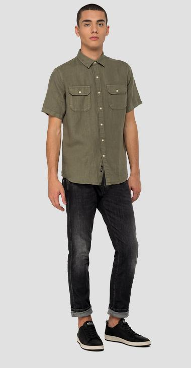 Short-sleeved linen shirt - Replay M4029_000_81388N_677_1