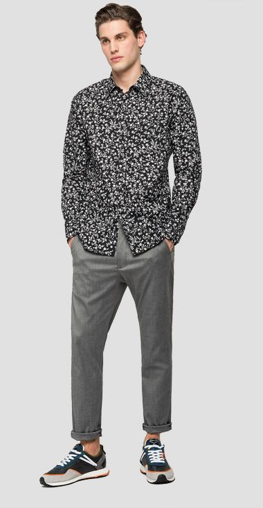 Poplin shirt with all-over print - Replay M4040_000_72150_010_1