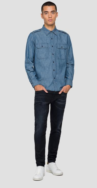 Shirt in cotton and linen denim - Replay M4050_000_230-80A_009_1