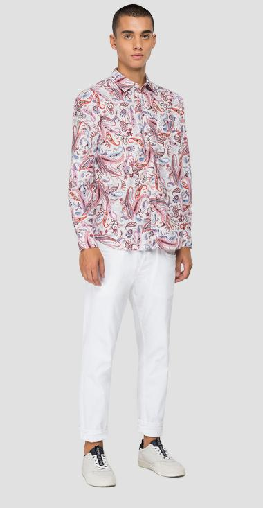 Cotton shirt with paisley print - Replay M4053_000_72232_010_1