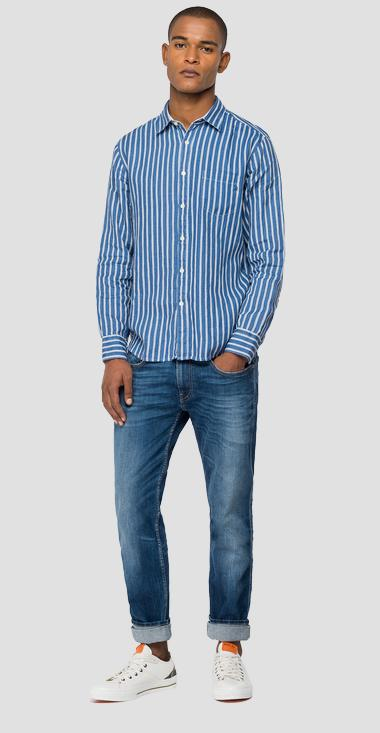 Shirt in striped linen - Replay M4053_000_72308_020_1