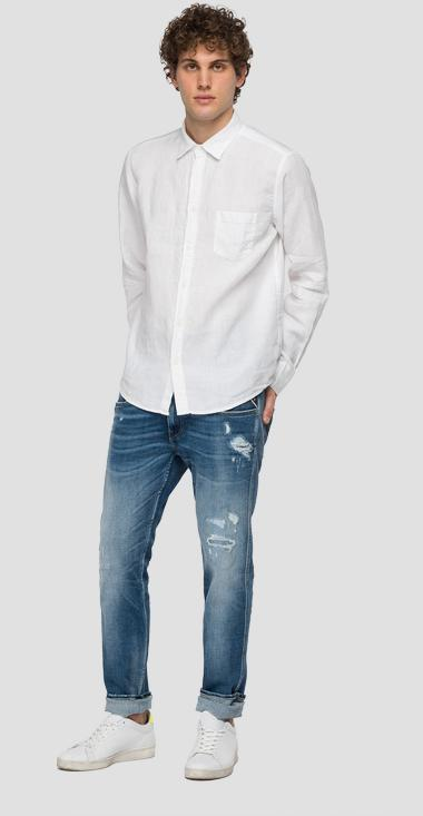 Linen shirt with pocket - Replay M4053_000_81388N_001_1