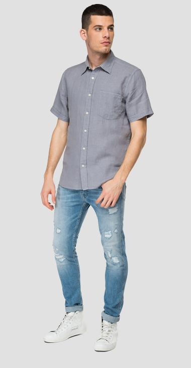 Linen shirt with pocket - Replay M4063_000_81388N_079_1
