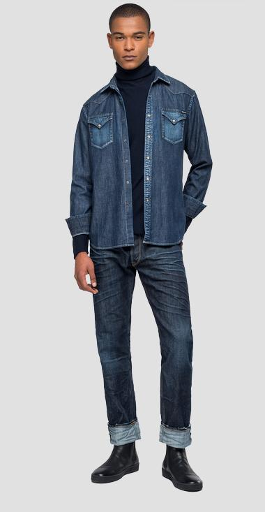 Denim shirt with faded effect - Replay M4860Z_000_26C-512_007_1