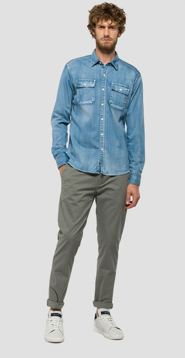 Denim shirt with patch pockets - Replay M4962_000_17C-99A_009_1