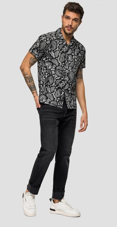 Short-sleeved shirt with paisly print - Replay M4985_000_71962_010_1