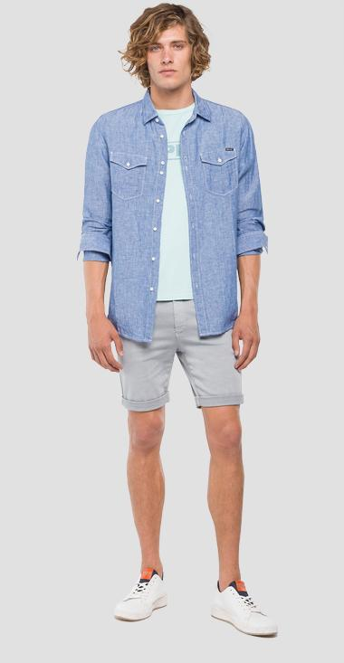 Chemise en lin effet chambray - Replay M4998T_000_52084_010_1