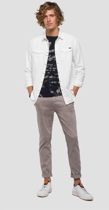 Shirt in white denim - Replay M4998_000_8330001_001_1
