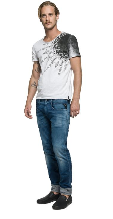 T Shirt With Indian Print Replay