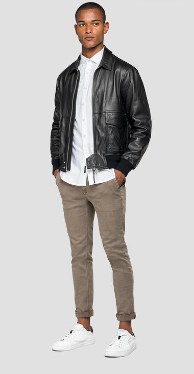 Leather jacket with zipper - Replay M8028_000_83056_010_1
