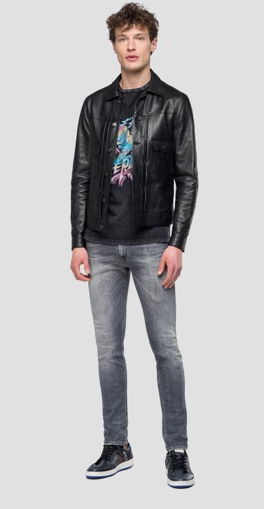 Leather jacket with buttons - Replay M8029_000_83056_010_1