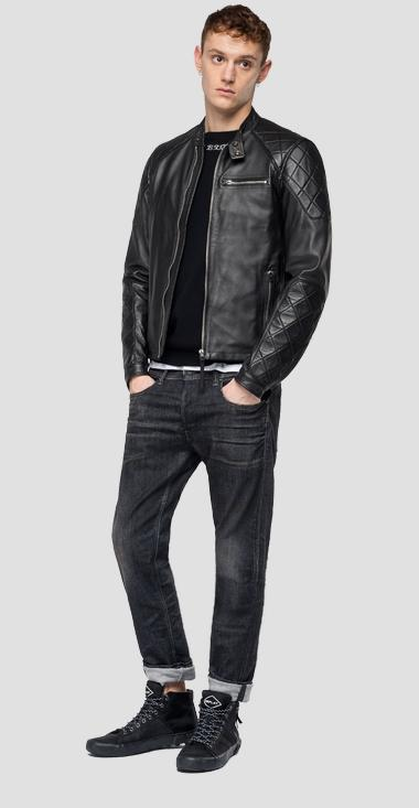 Leather biker jacket with diamond inserts - Replay M8032_000_83056_010_1