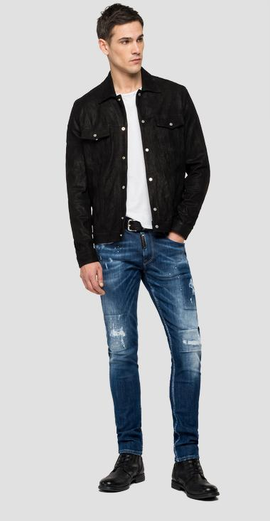 Jacket in waxed leather with pockets - Replay M8070_000_83710_010_1