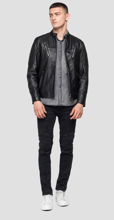 Leather biker jacket with pockets - Replay M8116_000_83056_010_1