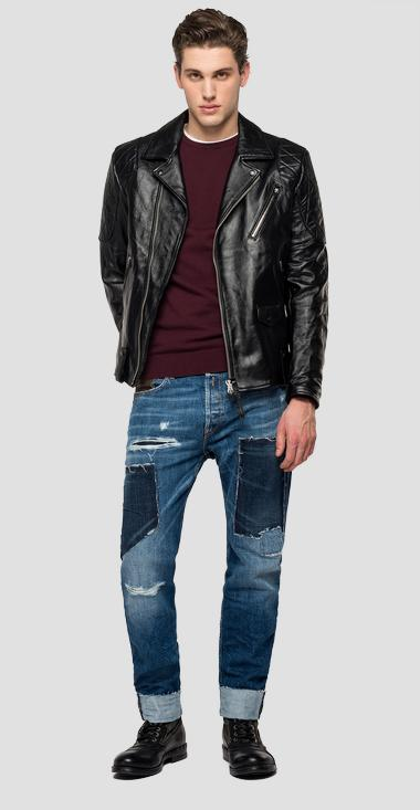 Leather jacket with collar - Replay M8117_000_83974_010_1
