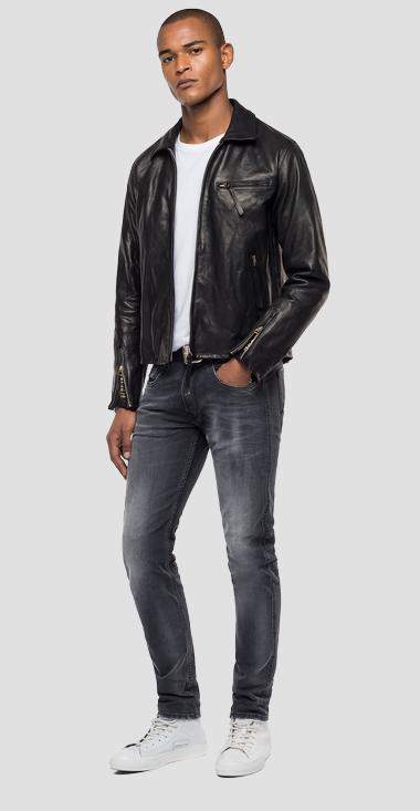 REPLAY BLUE JEANS leather biker jacket - Replay M8118_000_83708K_010_1