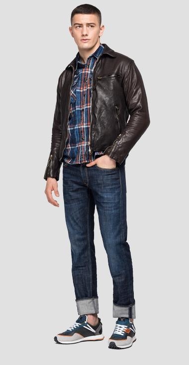 REPLAY BLUE JEANS leather biker jacket - Replay M8118_000_83708K_030_1