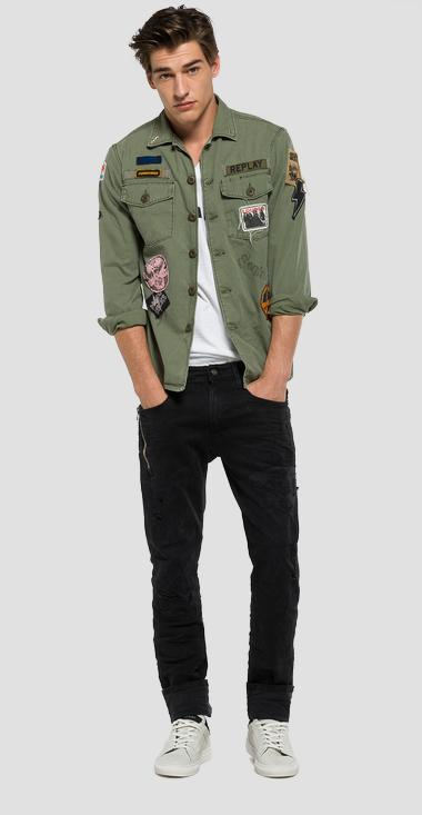 Jacket with patches and back print - Replay M8825_000_82724_314_1