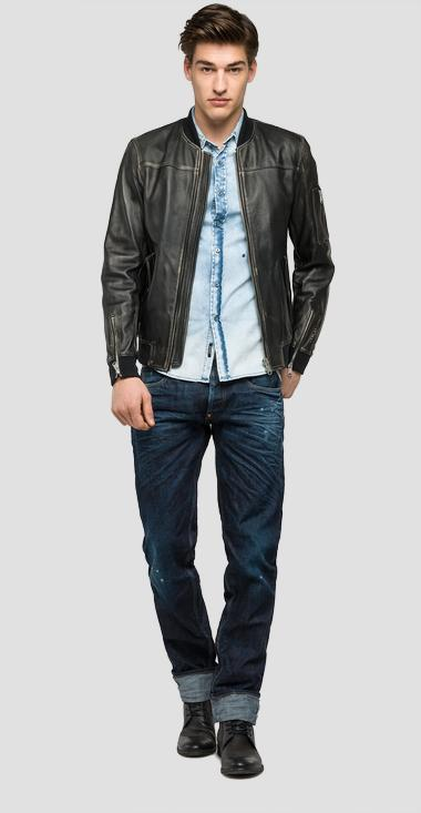 Sprayed leather jacket with ribbed details - Replay M8834_000_82246N_010_1