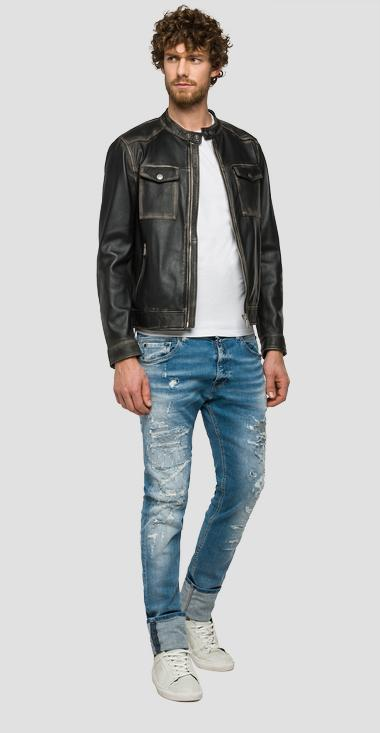 Biker jacket with pockets - Replay M8838_000_82246N_010_1