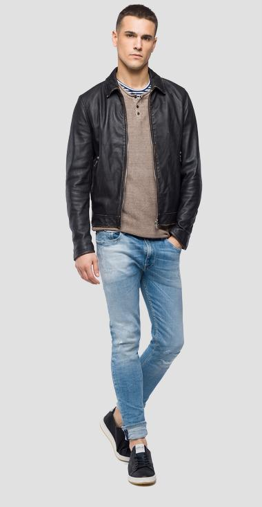 Jacket in crust leather - Replay M8990_000_82246S_095_1