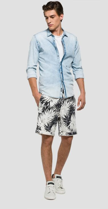 Printed cotton and linen bermuda shorts - Replay M9567_000_70961_010_1