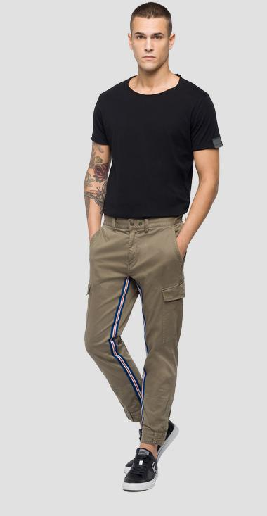 Slim fit cargo trousers with striped detail - Replay M9633_000_80803G_574_1
