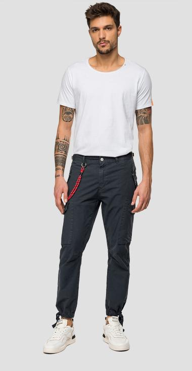 Cargo trousers with straps and chain - Replay M9689_000_8366932_097_1