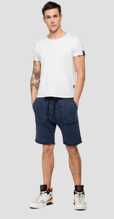 Fleece bermuda shorts with faded effect - Replay M9702_000_22738G_085_1
