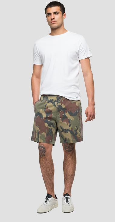 Cotton bermuda shorts with camouflage print - Replay M9755_000_73354_010_1