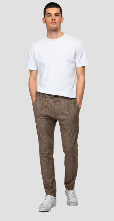 Slim fit houndstooth jogger pants - Replay M9776_000_52449_010_1