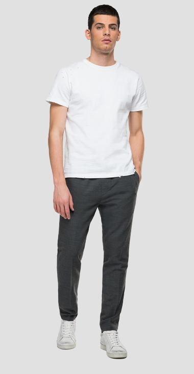 Slim fit jogger pants in wool blend and viscose - Replay M9781_000_52443_010_1