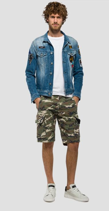 Denim jacket with patches - Replay MV842V_000_419986S_009_1