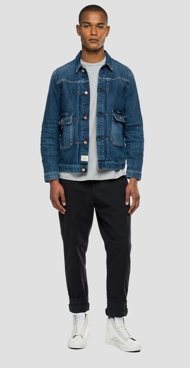 Agender Replay Tailored denim jacket with used effect - Replay MV860N_000_425-Z46_009_1