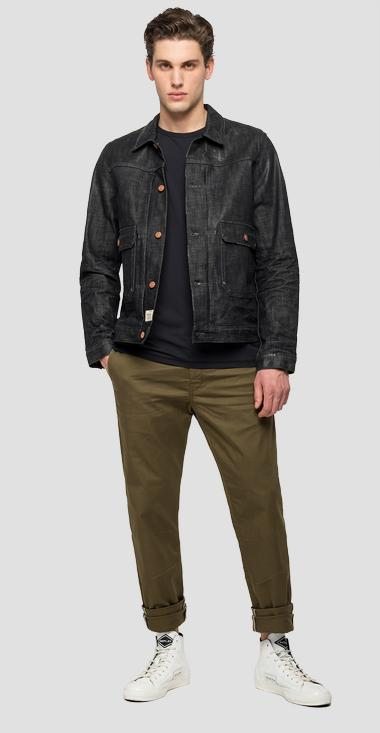 Regular fit tailored denim jacket - Replay MV860_000_265-Z23_096_1