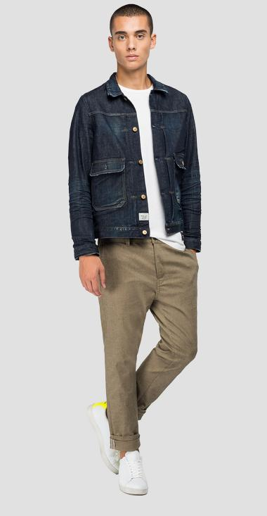 Tailored denim jacket with pockets - Replay MV860_000_425-Z32_007_1
