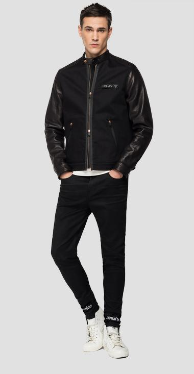 REPLAY NEYMAR NJR Capsule Collection denim and leather biker jacket - Replay NJ800L_000_263_098_1