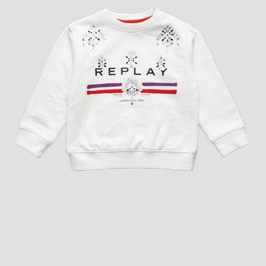 Sweatshirt with rhinestones- REPLAY&SONS PG2079_052_20990_012_1