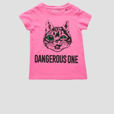 T-shirt with Cat print- REPLAY&SONS PG3179_050_22660G_817_1