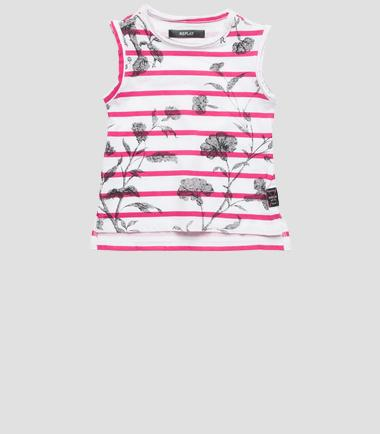 Girls' striped and floral print top- REPLAY&SONS PG7452_050_20994P_025_1