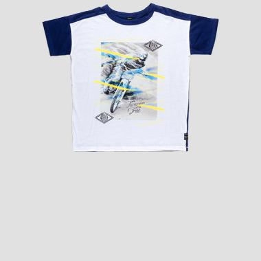 Two-tone t-shirt with bike print- REPLAY&SONS SB7327_050_20994_001_1