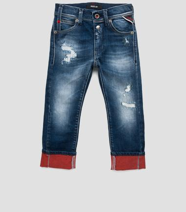 Boys' stretch jeans with turn-ups- REPLAY&SONS SB9340_050_51C-328_001_1