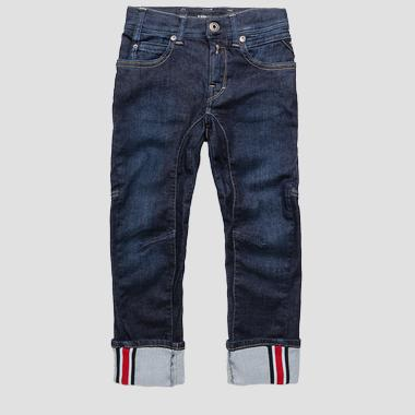 Slim fit ergonomical jeans with turn-up- REPLAY&SONS SB9377_050_2062151_001_1