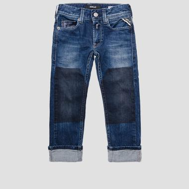 Regular fit jeans with printed panels- REPLAY&SONS SB9383_050_51C-340_001_1