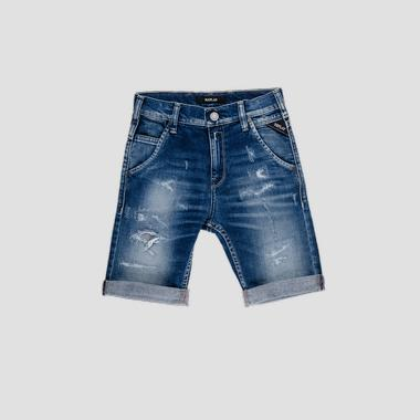 Denim short pants with breakages- REPLAY&SONS SB9628_052_51C-640_001_1