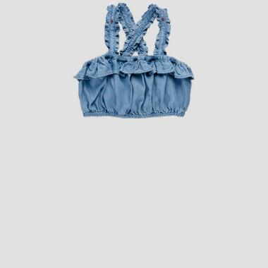Denim cami top with ruffles- REPLAY&SONS SG1708_050_50103_001_1