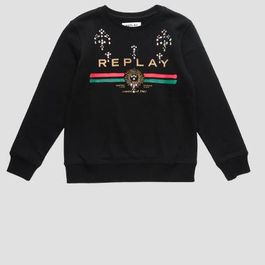 Sweatshirt with writing and rhinestones- REPLAY&SONS SG2059_058_20990_098_1