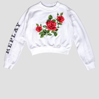 Crop sweatshirt with floral print- REPLAY&SONS SG2096_050_22852_001_1